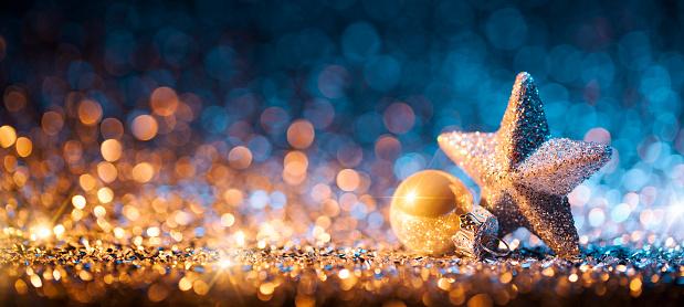 Christmas Lights「Christmas Star with ornament on Glitter - Bokeh Defocused Gold」:スマホ壁紙(17)