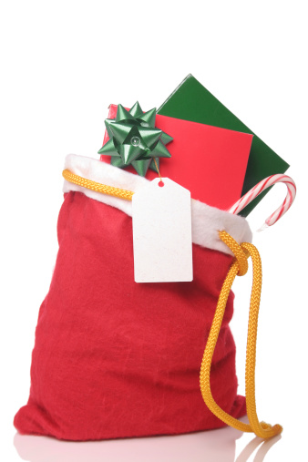Candy Cane「Christmas sack filled with candy cane card and gift with bow」:スマホ壁紙(9)