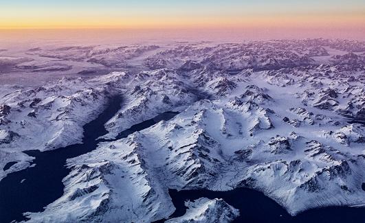 Greenland「Greenland aerial in winter at sunset」:スマホ壁紙(14)