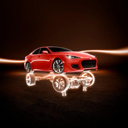 Square - Composition「red car frame」:スマホ壁紙(1)