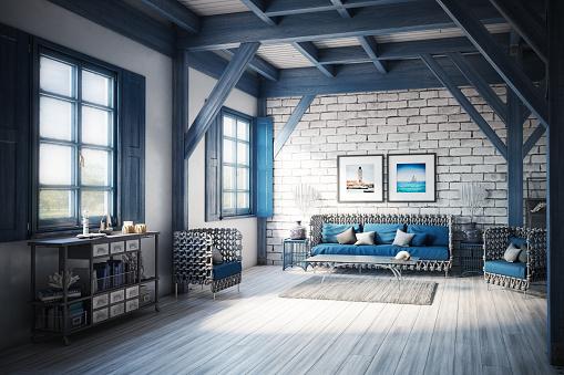 Chalet「Blue (Azure) Themed Holiday Villa Interior」:スマホ壁紙(3)