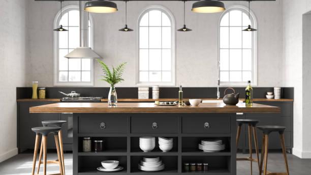 Black industrial kitchen:スマホ壁紙(壁紙.com)