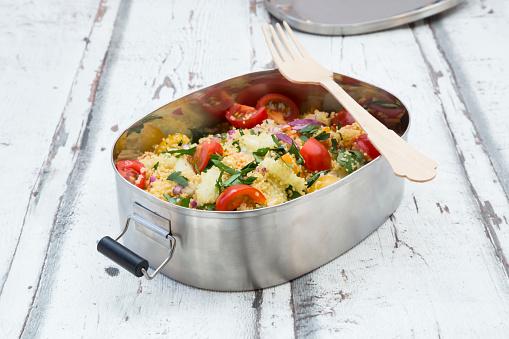 Veganism「Vegetable Couscous salad in metal box」:スマホ壁紙(11)