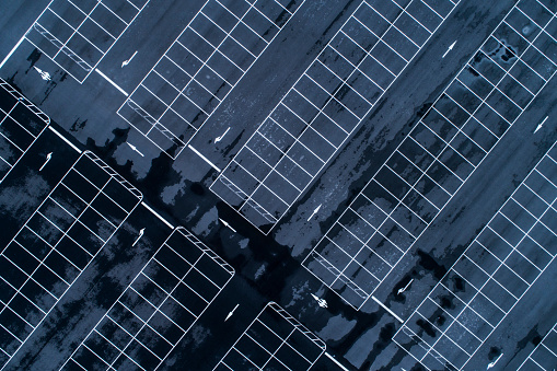 Parking Lot「Empty parking lots, aerial view.」:スマホ壁紙(5)