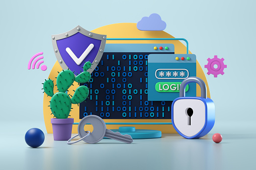 Cyber-「Data protection and cyber security concept」:スマホ壁紙(7)