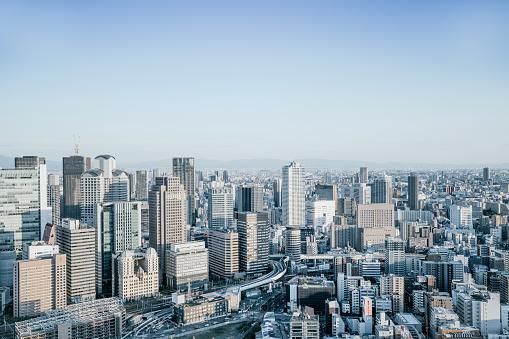 City Life「Skyline View Over Osaka, Japan」:スマホ壁紙(0)
