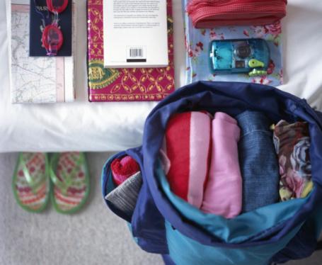 Flip-Flop「Folded clothes in open rucksack, beside belongings piled neatly on bed」:スマホ壁紙(15)