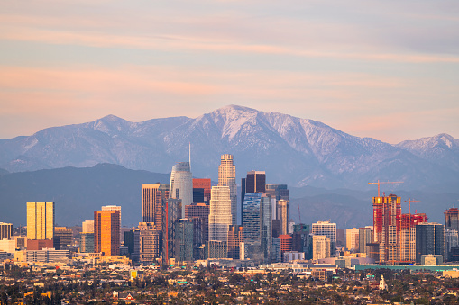 City Of Los Angeles「Downtown Los Angeles Skyline with Mountains Behind」:スマホ壁紙(11)