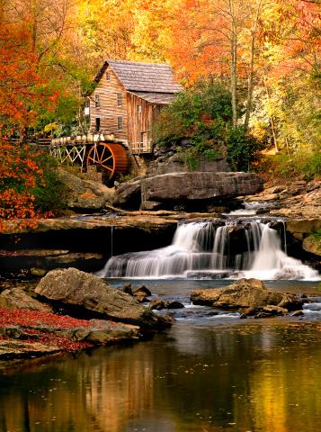 Mill「Autumn Glade Creek Mill, Babcock State Park, West Virginia」:スマホ壁紙(11)