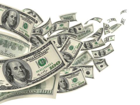 American One Hundred Dollar Bill「US Dollar Hundred Bills In Wind」:スマホ壁紙(6)