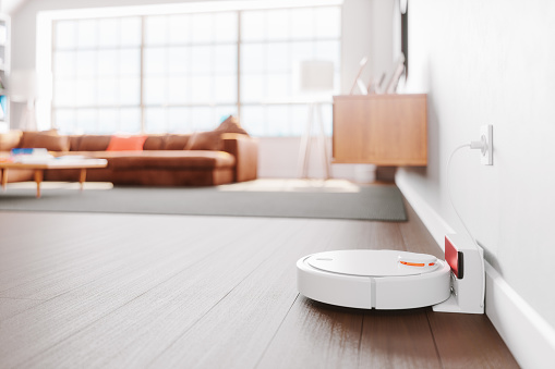 Wood Laminate Flooring「Robot Vacuum Cleaner In A Modern Living Room」:スマホ壁紙(14)