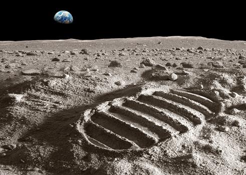 Moon「Footprint of astronaut on the moon」:スマホ壁紙(4)
