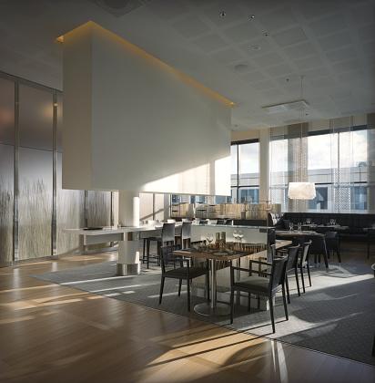 Buffet「Modern Restaurant Interior with Large Glass Windows」:スマホ壁紙(19)