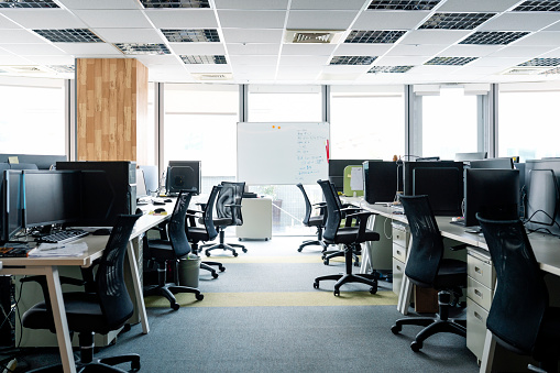 Asia「Empty chairs and Desktop PCs at desks in office」:スマホ壁紙(11)