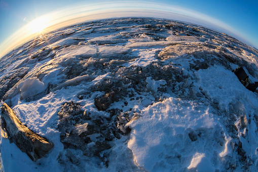 Pack Ice「Sunrise over the Norton Sound sea ice during Iditarod; Alaska, United States of America」:スマホ壁紙(9)