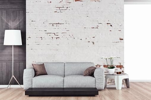Living Room「Empty living room with sofa」:スマホ壁紙(1)