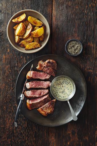 Sirloin Steak「Steak with mustard and green peppercorns sauce」:スマホ壁紙(11)