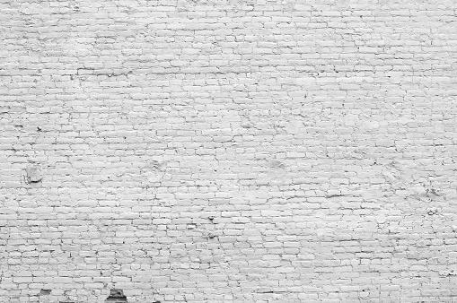 Black And White「Old distressed white brick wall」:スマホ壁紙(14)