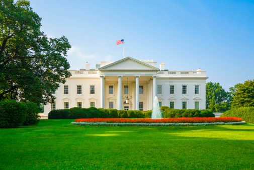 Classical Style「The White House, green lawn, blue sky, early morning light」:スマホ壁紙(14)