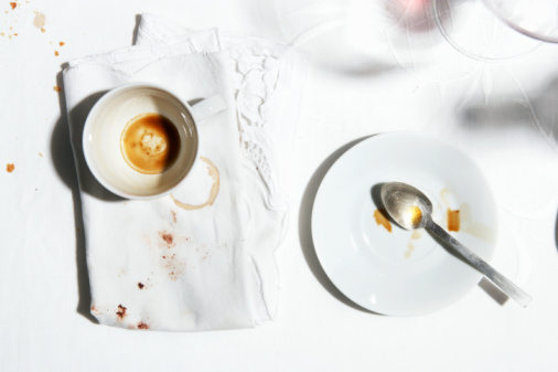 Finishing「Coffee cup, plate and dirty napkin, view from above」:スマホ壁紙(11)