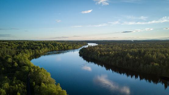 River「Aerial Nature Landscape Flying over River at Sunset」:スマホ壁紙(7)