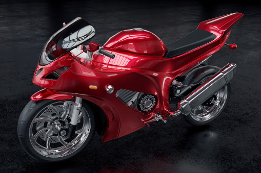 Motorized Vehicle Riding「3D rendered image of a metallic red motorcycle on black background」:スマホ壁紙(7)