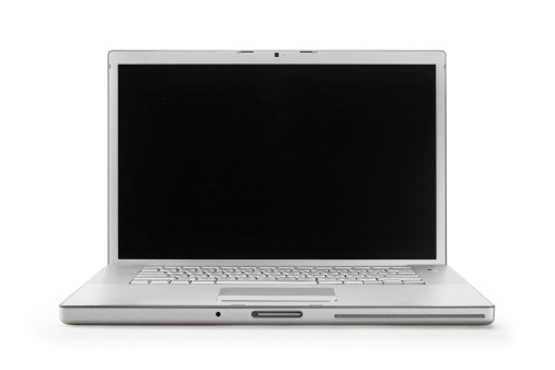 Portability「A opened laptop with a blank screen on a white background」:スマホ壁紙(13)