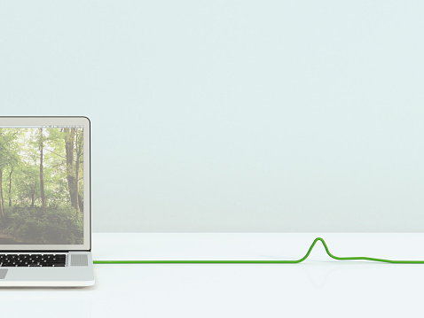 Cable「Opened laptop with green cable, 3D Rendering」:スマホ壁紙(12)