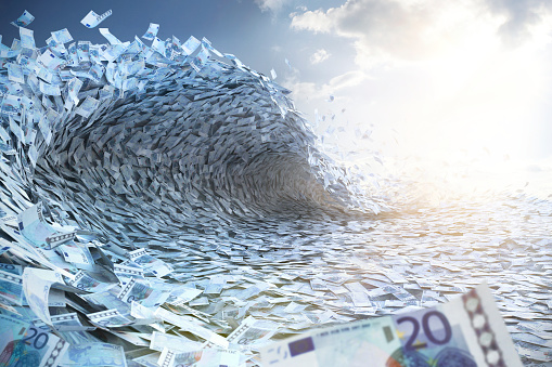 Extreme Weather「Wave built of Euro banknotes」:スマホ壁紙(18)