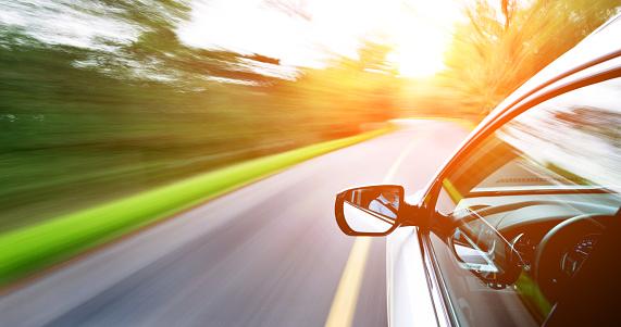 Driving「Man driving a car through a forest」:スマホ壁紙(6)
