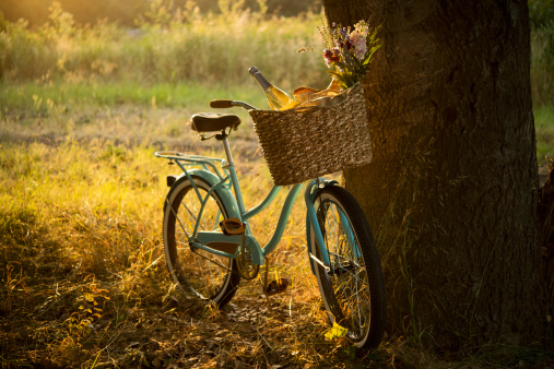 Old-fashioned「Retro Bicycle with Wine in Picnic Basket - XXXL」:スマホ壁紙(1)