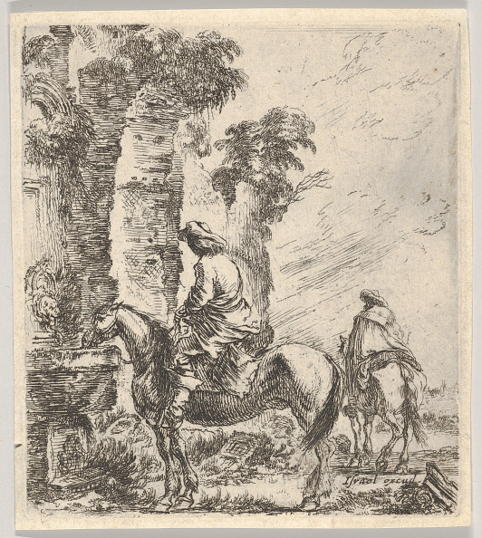 Horse「Plate 19: A Rider Making His Horse Drink From A Basin Of A Fountain At Left」:写真・画像(17)[壁紙.com]