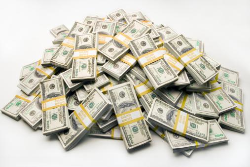 American One Hundred Dollar Bill「Pile of one hundred dollar bills in bundles」:スマホ壁紙(3)