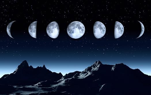 Moon「All phases of the moon on a clear dark sky」:スマホ壁紙(5)