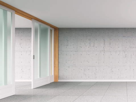 Entrance「Empty room with sliding door and concrete wall, 3D rendering」:スマホ壁紙(8)