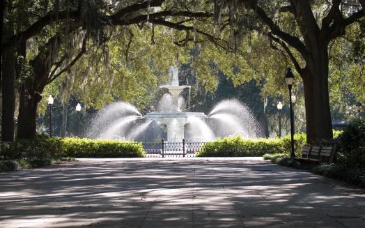 Savannah「Stone walkway and water fountain in the park」:スマホ壁紙(10)