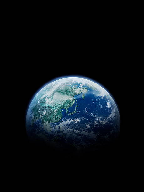 The earth, computer graphic, black background, copy space:スマホ壁紙(壁紙.com)
