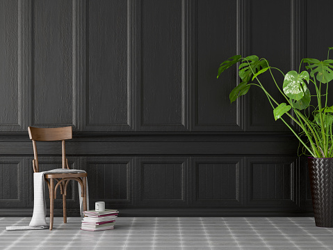 Wood Paneling「Empty Black Wall Panel with Wooden Chair」:スマホ壁紙(2)