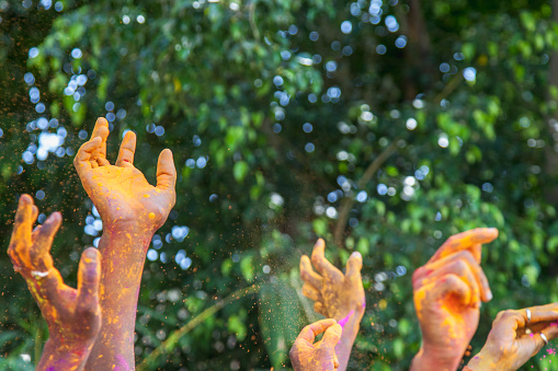 University Student「Hands of young Indian people dancing while celebrating Holi Festival in Jaipur.」:スマホ壁紙(12)