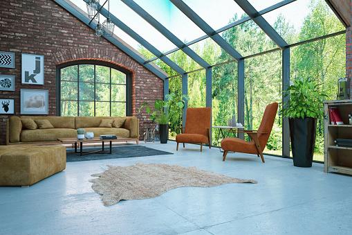 Wallpaper - Decor「Loft Room with Brick Walls and Garden View」:スマホ壁紙(4)