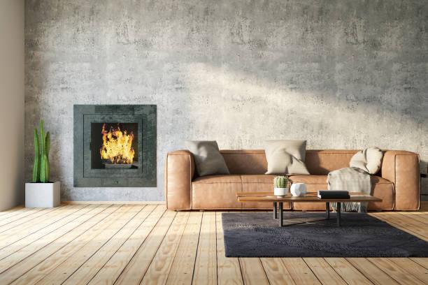 Loft Room with Fireplace:スマホ壁紙(壁紙.com)