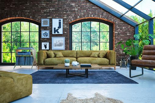 Coffee Table「Loft Room with Sofa and Furniture」:スマホ壁紙(14)