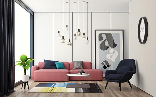 ピンク色「現代スカンジナビアの小さなカラフルなインテリアリビングルーム」:スマホ壁紙(18)