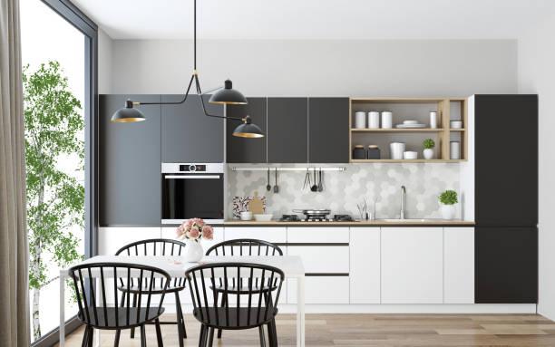 Modern Scandinavian kitchen and dining room:スマホ壁紙(壁紙.com)