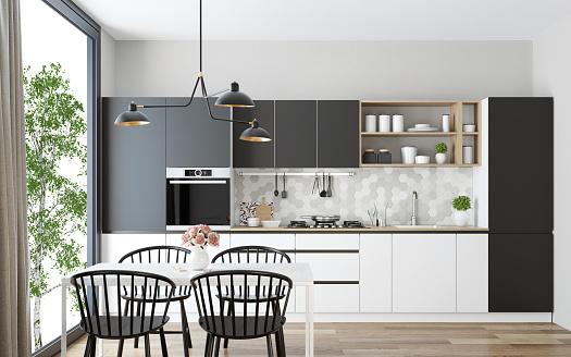 Dining Table「Modern Scandinavian kitchen and dining room」:スマホ壁紙(16)