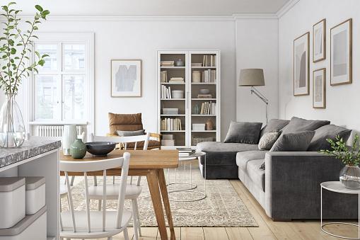Scandinavia「Modern scandinavian living room interior - 3d render」:スマホ壁紙(4)