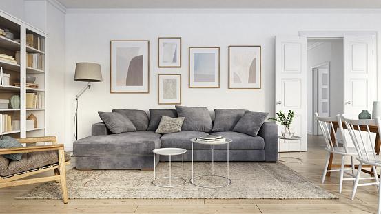 Gray Color「Modern scandinavian living room interior - 3d render」:スマホ壁紙(9)