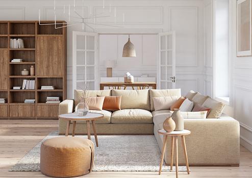 Renting「Modern scandinavian living room interior - 3d render」:スマホ壁紙(4)