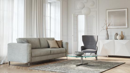 Gray Color「Modern scandinavian living room interior - 3d render」:スマホ壁紙(7)