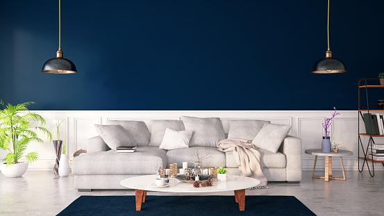 Bad Condition「Dar Blue Color Interior with Sofa」:スマホ壁紙(3)